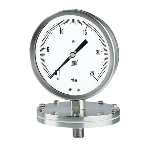 Diaphragm pressure gauges with threaded connection