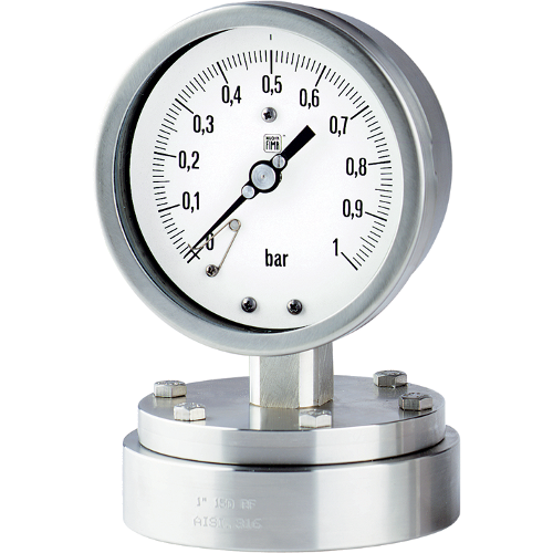 Diaphragm pressure gauges with flange connection